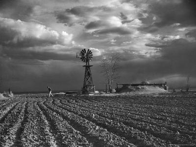 Dust Storm Rising over Farmer Walking Across His Plowed Field-Margaret Bourke-White-Photographic Print