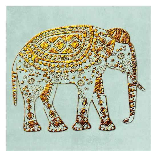 Dusty Aqua Elephant-Sheldon Lewis-Art Print