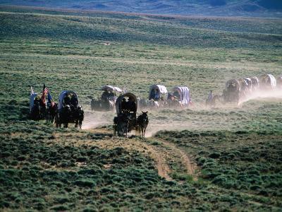 Dusty Horse Carriage Trek, Mormon Pioneer Wagon Train to Utah, Near South Pass, Wyoming-Holger Leue-Photographic Print