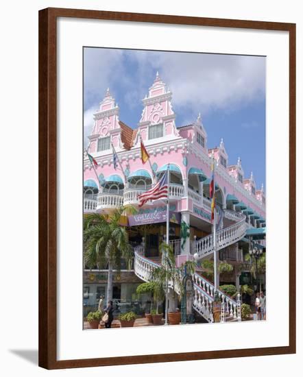 Dutch Architecture of Oranjestad Shops, Aruba, Caribbean-Lisa S. Engelbrecht-Framed Photographic Print