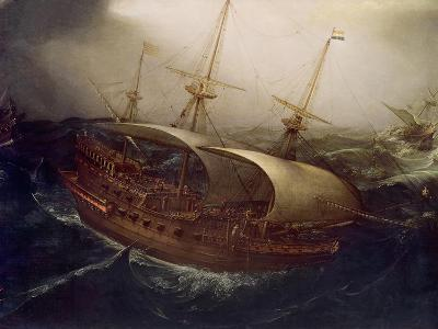 Dutch Battleship in a Storm-Hendrick Cornelisz^ Vroom-Giclee Print