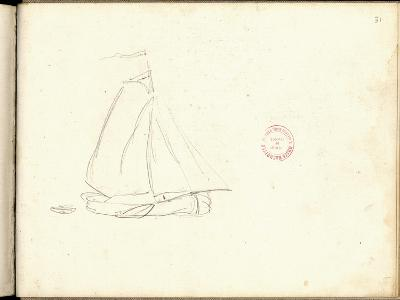 Dutch Boat (Pencil on Paper)-Claude Monet-Giclee Print