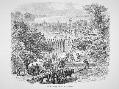 Dutch Building the Palisades or Stockade around New Amsterdam for Protection--Giclee Print