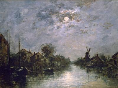 Dutch Channel in the Moonlight, C1840-1891-Johan Barthold Jongkind-Giclee Print