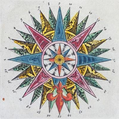 Compass Rose, from a Blaue Atlas, Published in Amsterdam, 1697 (Coloured Engraving)