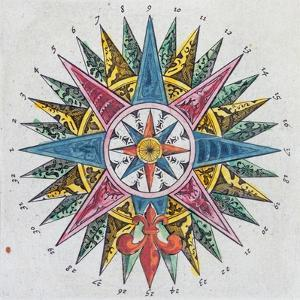 Compass Rose, from a Blaue Atlas, Published in Amsterdam, 1697 (Coloured Engraving) by Dutch