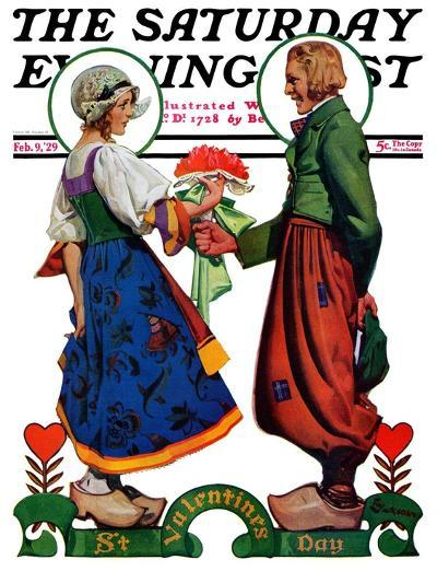 """Dutch Couple Valentine,"" Saturday Evening Post Cover, February 9, 1929-Elbert Mcgran Jackson-Giclee Print"