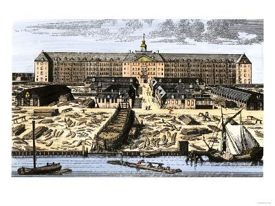 Dutch East India House in Amsterdam, Showing Warehouses and Shipyard--Giclee Print