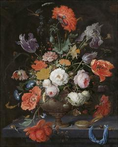 Abraham Mignon, Still Life with Flowers and a Watch by Dutch Florals