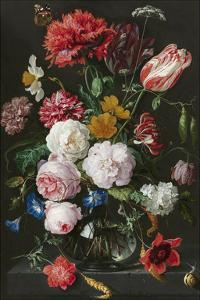 Abraham Mignon, Still Life with Flowers in a Glass Vase by Dutch Florals