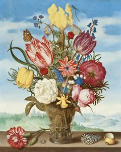 Ambrosius Bosschaert, Bouquet of Flowers on a Ledge by Dutch Florals