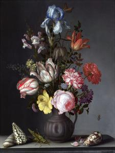 Balthasar van der Ast, Flowers in a Vase with Shells and Insects by Dutch Florals