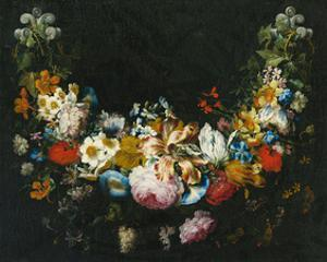 Gaspar Peeter Verbruggen, A swag of flowers by Dutch Florals