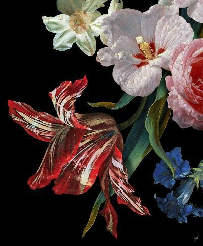 Dutch Garden IX-Black--Hand Embellished Art