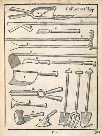 Garden Tools, from 'The Dutch Gardener' by Johann Van Der Groen, Published 1699 (Engraving)