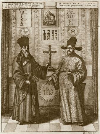 Matteo Ricci (1552-1610) and Paulus Li, from 'China Illustrated' by Athanasius Kircher (1601-80)