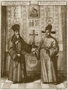 Matteo Ricci (1552-1610) and Paulus Li, from 'China Illustrated' by Athanasius Kircher (1601-80) by Dutch