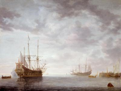 Dutch Men-O-War at Anchor, C.1650-Simon Jacobsz. Vlieger-Giclee Print