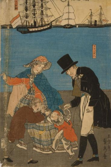Dutch people taking a Sunday walk in Yokohama, 1871-Utagawa Sadahide-Giclee Print