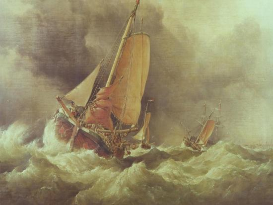 Dutch Pincks Running to Anchor off Yarmouth-Edward William Cooke-Giclee Print