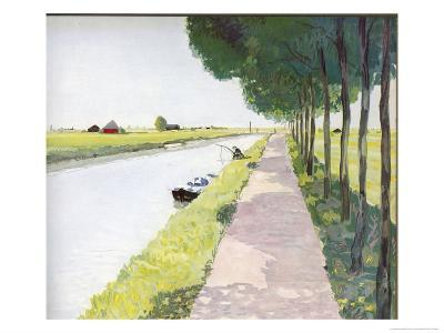 Dutch Scenery: Typical Canal with Fisherman-Andre Girard-Giclee Print
