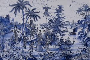 Plaque with a Chinoiserie landscape and gilt details, c.1680 by Dutch School