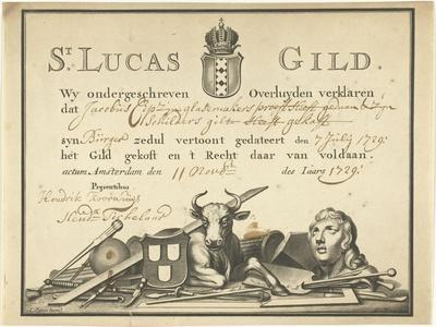 Receipt from the Guild of Saint Luke in Amsterdam to the glazier James Cip, 1729