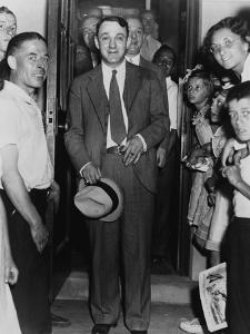 Dutch Schultz, Emerging from Doorway of Malone County Jail, in an Upstate New York Town, 1936