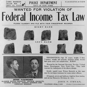 Dutch Schultz Wanted Poster Issued by New York City Police Department in 1934