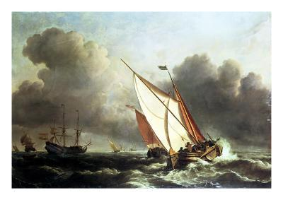 Dutch Shipping Offshore in a Rising Gale-Willem Van De, The Younger Velde-Giclee Print
