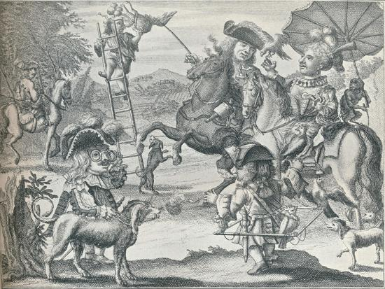 Dutch Skit on Falconry, c1716, (1916)-Unknown-Giclee Print