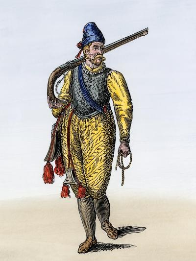 Dutch Soldier Carrying an Arquebus, 1500s or 1600s--Giclee Print
