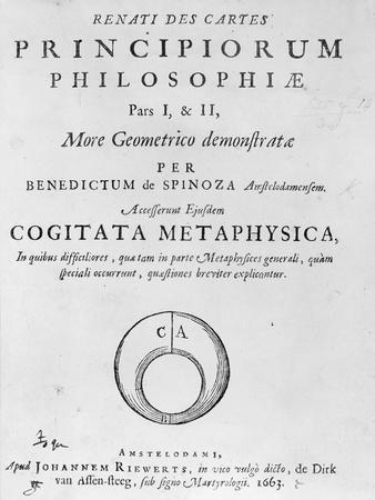 Titlepage to 'Renati Descartes Principiorum Philosophie' by Baruch Spinoza, Published in 1663