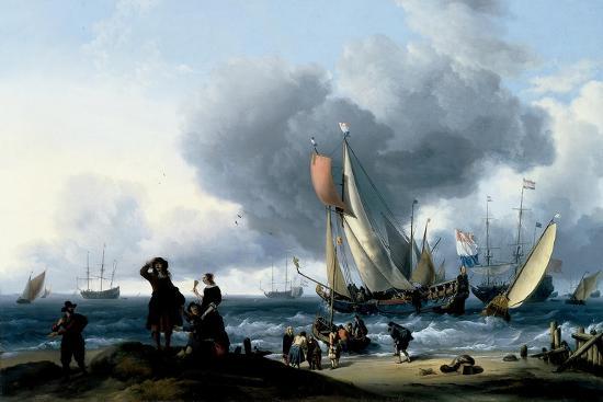 Dutchmen Embarking onto a Yacht, C.1670-Ludolf Backhuysen-Giclee Print