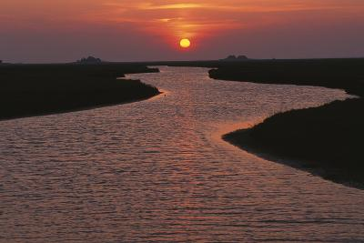 Dwelling Mounds in the Wadden Sea at Sunset-Norbert Rosing-Photographic Print