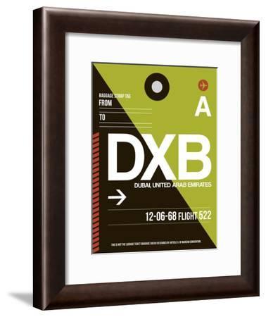 DXB Dubai Luggage Tag II-NaxArt-Framed Art Print