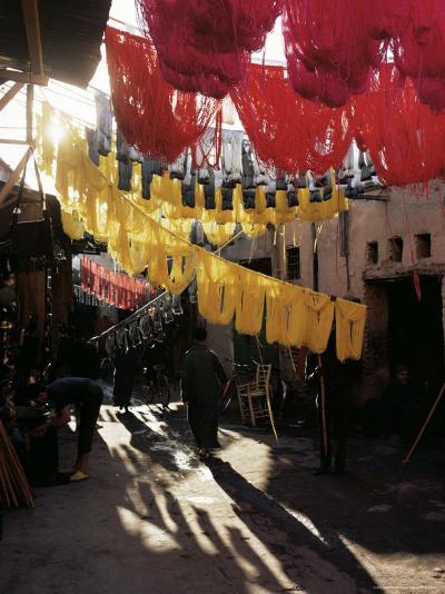 Dyed Wool, Dyers Souk, Marrakesh, Morocco, North Africa, Africa-Adam Woolfitt-Photographic Print