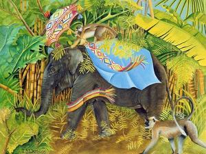 Elephant with Monkeys and Parasol, 2005 by E.B. Watts