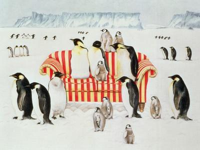 Penguins on a Red and White Sofa, 1994
