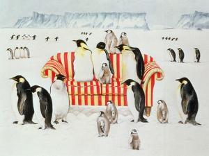 Penguins on a Red and White Sofa, 1994 by E.B. Watts