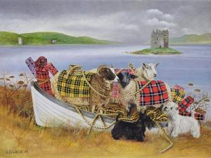 Sheep with Tartan, 1999 by E.B. Watts