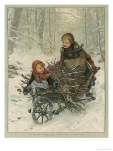 Two Children Bring Home a Barrow-Load of Firewood for the Christmas Fire by E. Blume