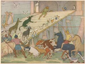 Noah's Ark, Noah's Sons Encourage the Animal Couples to Board the Ark by E. Boyd Smith
