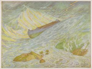 Noah's Ark, The Ark Weathers Some Pretty Rough Weather as the Storm Build Up by E. Boyd Smith