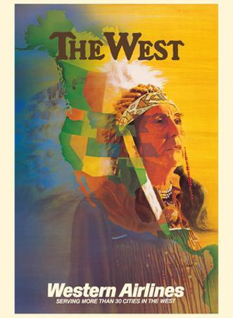 The West - Native American Indian Chief - Western Airlines by E. Carl Leick
