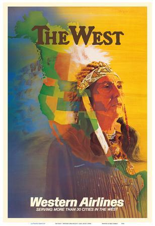 The West - Native American Indian Chief - Western Airlines