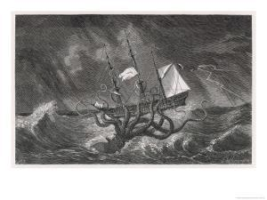 Kraken Attacking a Sailing Vessel During a Storm by E^ Etherington