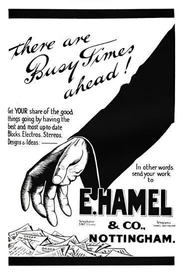 'E. Hamel & Co. advert - There are busy times ahead!', 1919-Unknown-Giclee Print