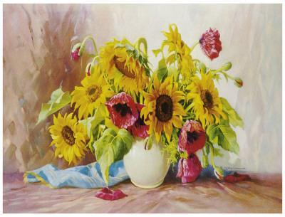 Poppies And Sunflowers