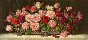 Rosen in Silberner Schale by E^ Kruger